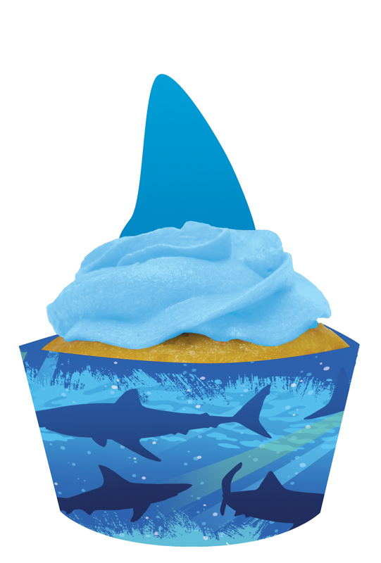 Shark Splash Cupcake Wrappers with Picks- 12ct