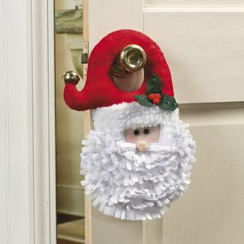 Cotton Santa Head Doorknob Hanger