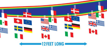 International Flag Ceiling Decor- 12ft