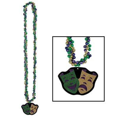 Braided Beads with Comedy & Tragedy Medal 33 inch