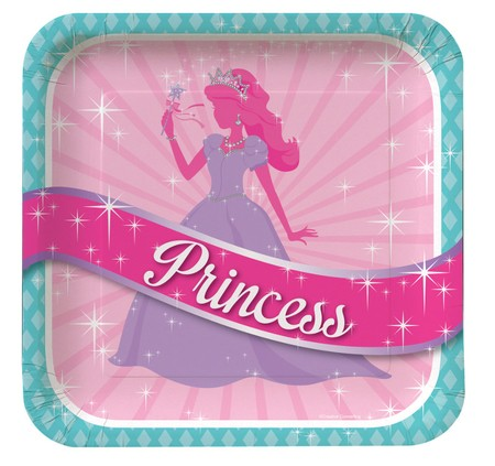 Princess Party Deep Dish Sqaure Foil Dinner Plates