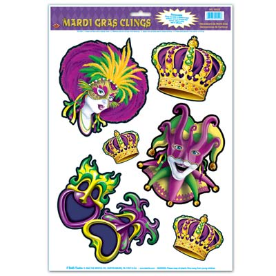 Mardi Gras Clings 12 x 17 in. Sheet