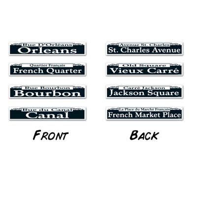 Mardi Gras Street Sign Cutouts 4 x 24 in.