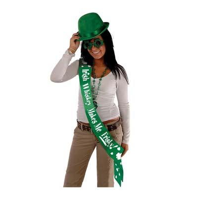 Irish Whiskey Makes Me Frisky Satin Sash 33 x 4in