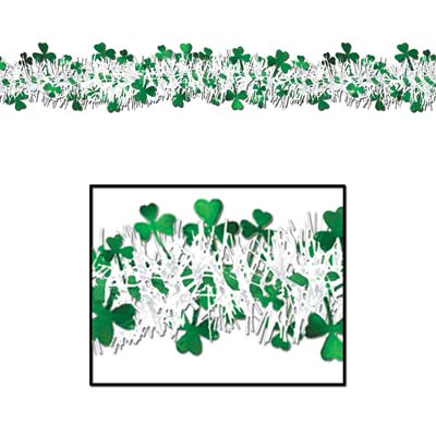 FR Metallic Shamrock Garland 12'