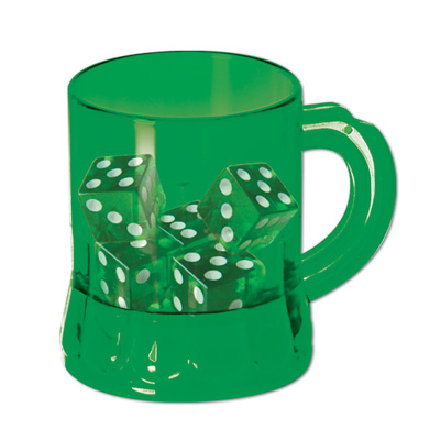 St Pat's Mug Shot with Dice 3 Oz