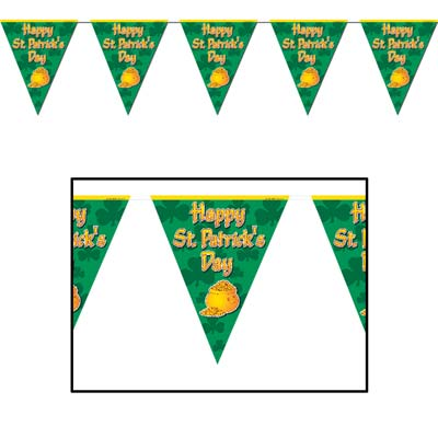 Happy St Patrick's Day Pennant Banner 10 x 12'
