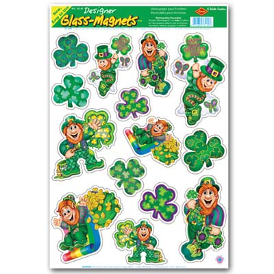 Leprechaun & Shamrock Clings 12 x 17in Sheet