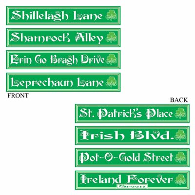 St Patrick's Day Street Sign Cutouts 4in x 24in