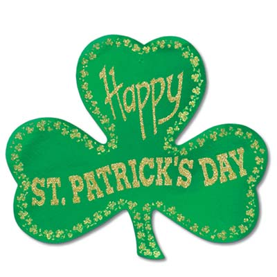 Glittered Foil Shamrock Cutout 15.5in