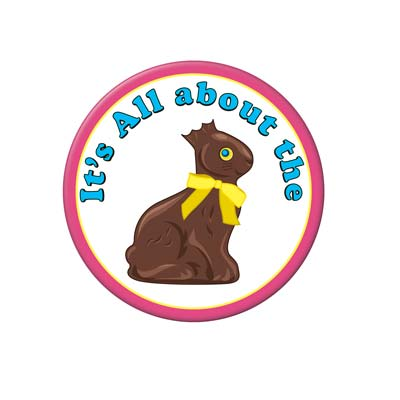 Chocolate Bunny Button 3 in