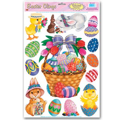 Easter Basket & Friends Clings 12 x 17in Sheet