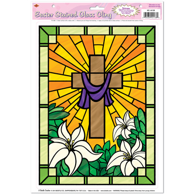 Easter Stained Glass Cling 12 x 17in Sheet