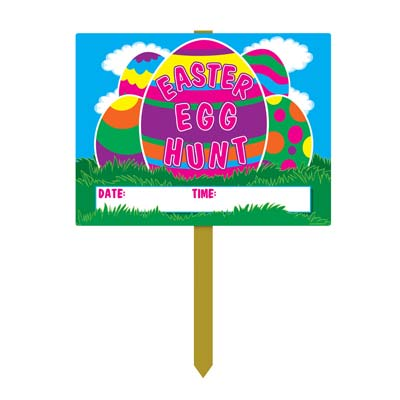 Plastic Easter Egg Hunt Yard Sign 11 x 15in