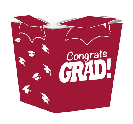 Burgundy Grad Shaped Treat Boxes