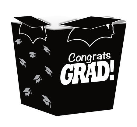 Black Grad Shaped Treat Boxes