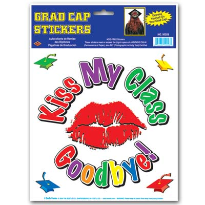 Kiss My Class Goodbye Grad Cap Sticker 9 Diameter