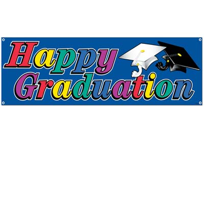 Happy Graduation Sign Banner 5ft x 21in