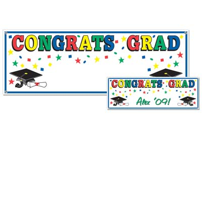 Congrats Grad Sign Banner 5ft x 21in
