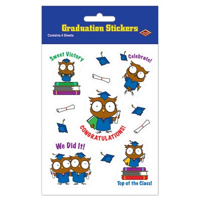 Owl Graduate Stickers 4.75 x 7.5in 4ct
