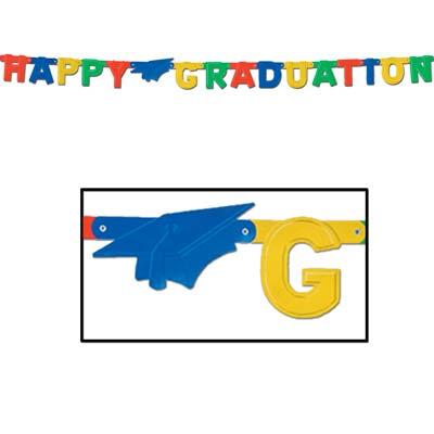 Foil Happy Graduation Streamer 4.25 in x 5 ft 9 in