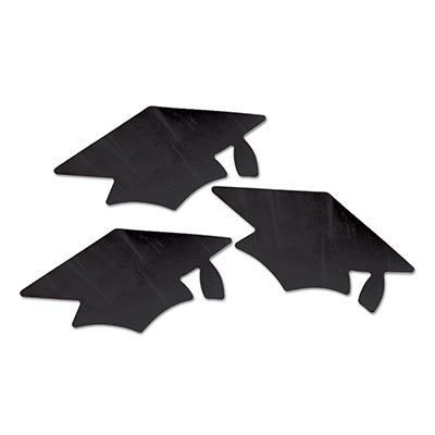 Black Metallic Grad Cap Cutouts 3 Ct