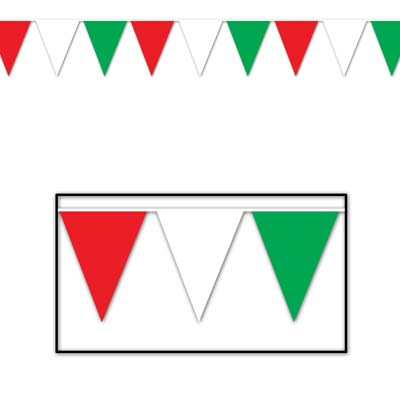 Indoor and Outdoor Pennant Banner - 10in x 12ft - Red Green White