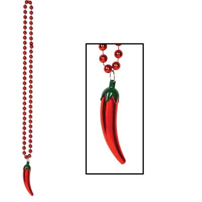 Beads with Chili Pepper Medallion - 36 Inch