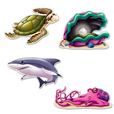 Under The Sea Creature Cutouts 14 in 4ct