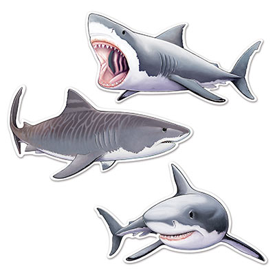 Shark Cutouts 22.5 - 24.25in 3ct