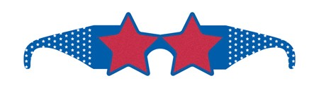 Red White & Blue Star Paper Glasses with Glitter
