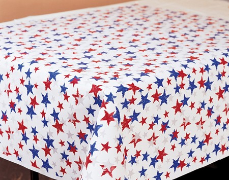 Red White & Blue Stars Plastic 100' Banquet Roll