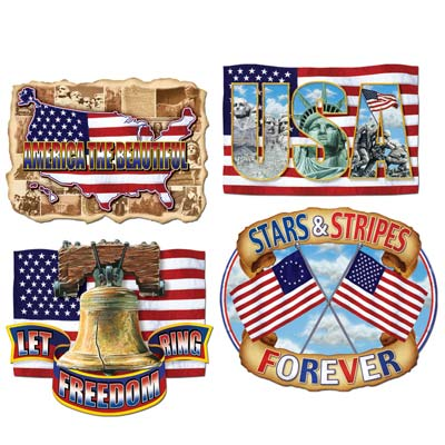 Pkgd American Pride Cutouts 16in 4ct