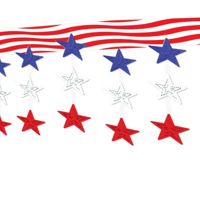 Stars & Stripes Ceiling Dcor 12in x 12ft
