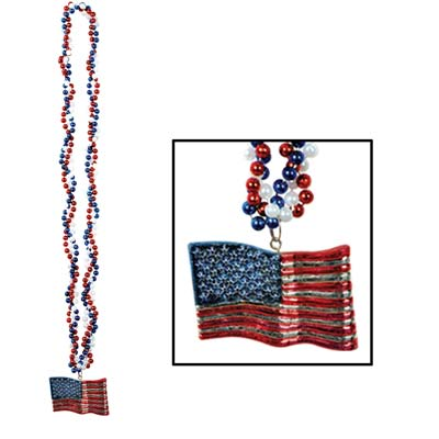 Braided Beads with American Flag Medallion 36in