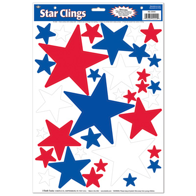 Star Clings 12 x 17in Sheet asstd red white blue