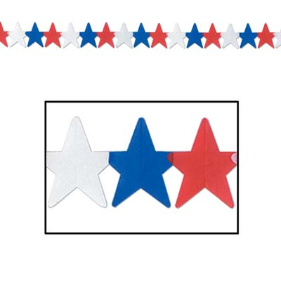 Patriotic Star Garland 5.15 in x 12 ft - Red White Blue
