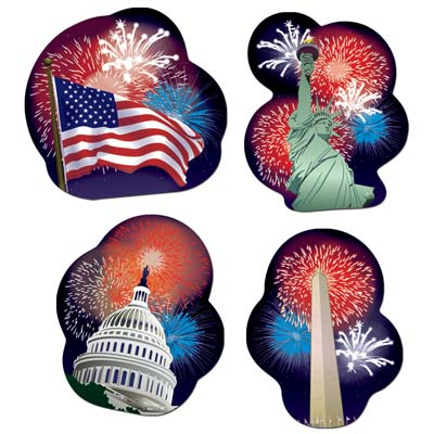 Patriotic Cutouts 14 in 4ct