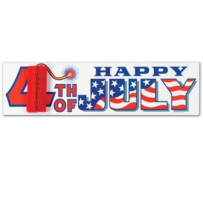 4th Of July Sign with Tissue Firecracker 8 x 31in
