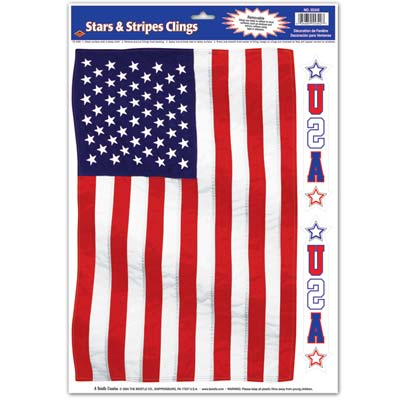 Stars & Stripes Cling 12 x 17in Sheet