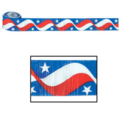 Stars & Stripes Crepe Streamer 2.5in x 30ft