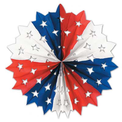 Patriotic Star Fan 22in - Red White Blue