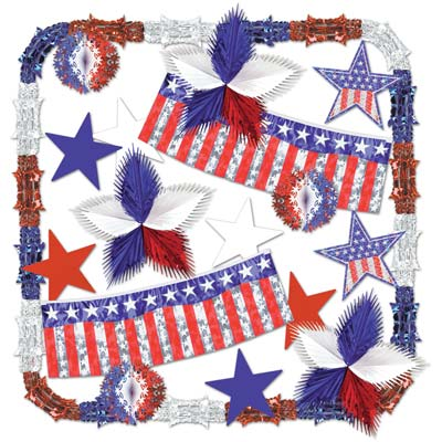 Stars & Stripes Metallic Decorating Kit - 20pc
