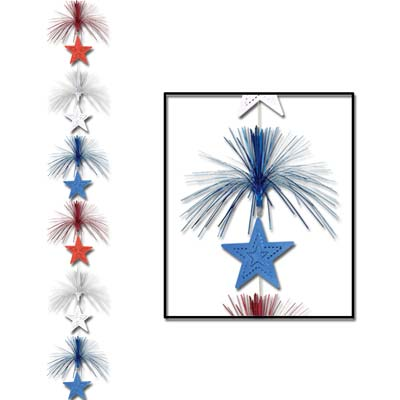 Star Firework Stringer 7ft - Red White Blue