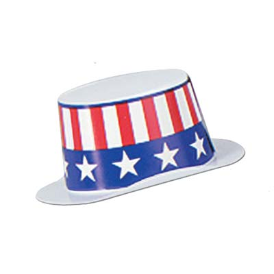 Mini White Plstc Topper wPatriotic Band 4.75 x 2in