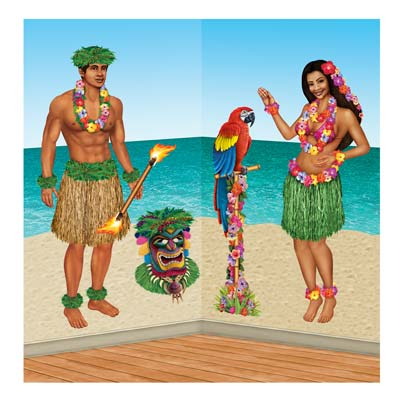 Hula Girl & Polynesian Guy Props 21in - 5ft