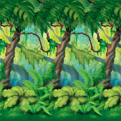 Jungle Trees Backdrop 4' x 30'
