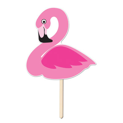 Plastic Flamingo Yard Sign 15x16in