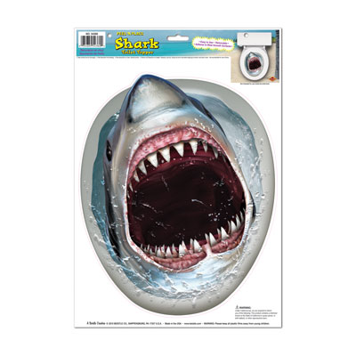 Shark Toilet Topper Peel 'N Place 12 x 17in Sheet