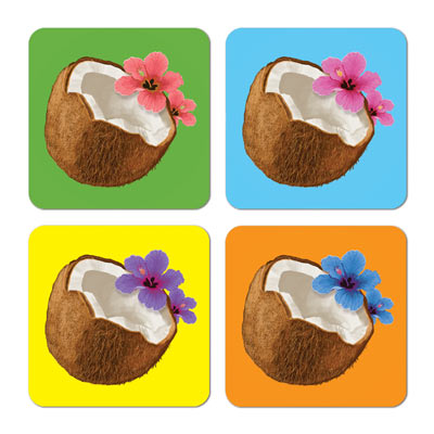Coconut Coasters 3.5in asstd colors 8ct